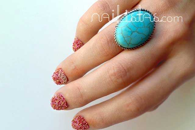Uñas de Caviar Rosa // Fish egg nails Manicure