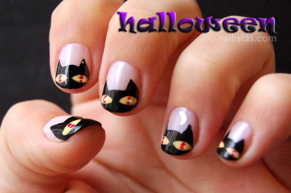 Uñas decoradas con gatos negros // Halloween nails //