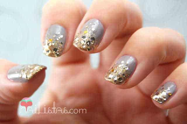 Uñas degradadas en dorado con Easy Paris, O.P.I. Goldeneye y Essie Miss Fancy Pants