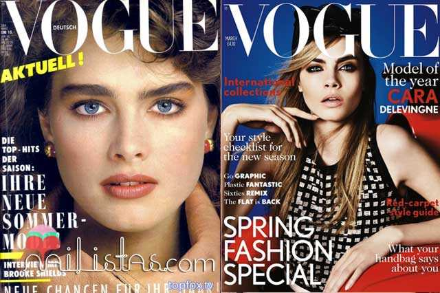 Brooke Shields & Cara Delevingne Vogue Covers