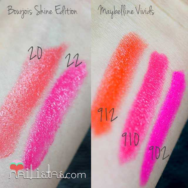 Satches de Bourjois SHine Edition y Maybelline Color Sensational Vivids