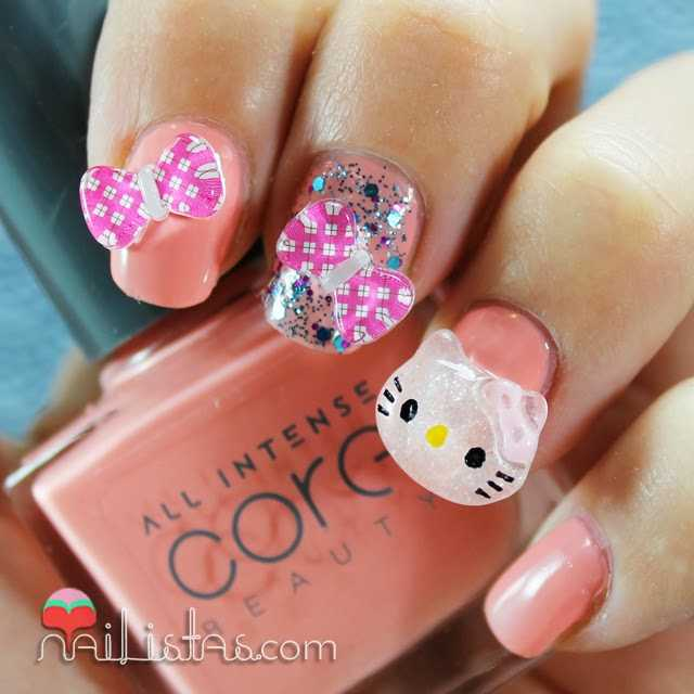 u as decoradas con hello kitty en 3d nailistas u as