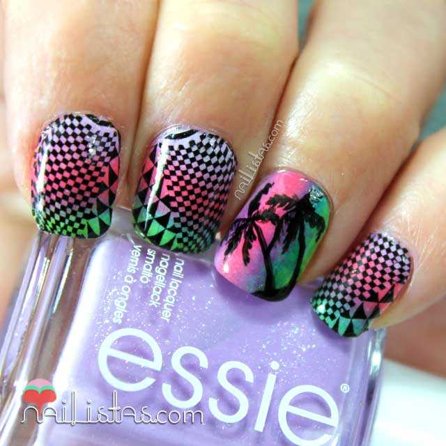 Nail art de palmeras y water decals