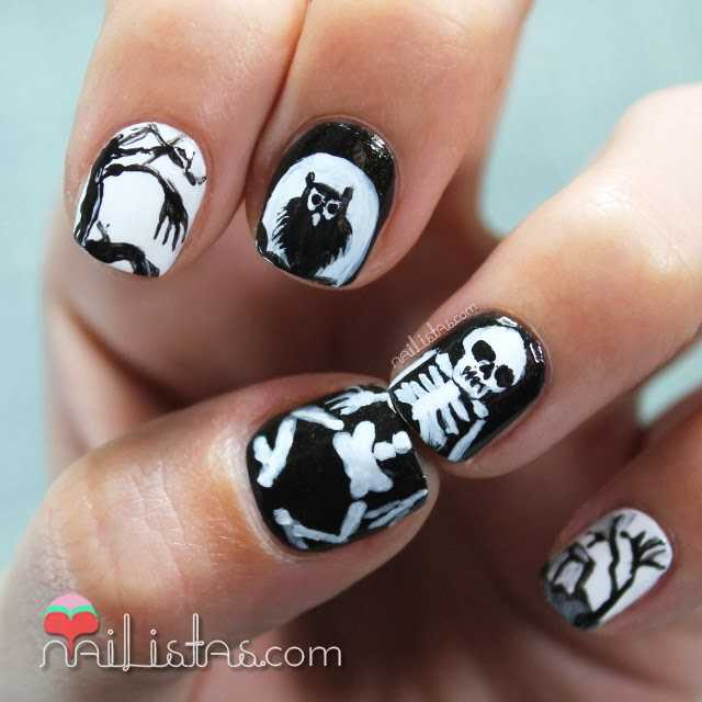 Uñas decoradas con esqueletos Halloween