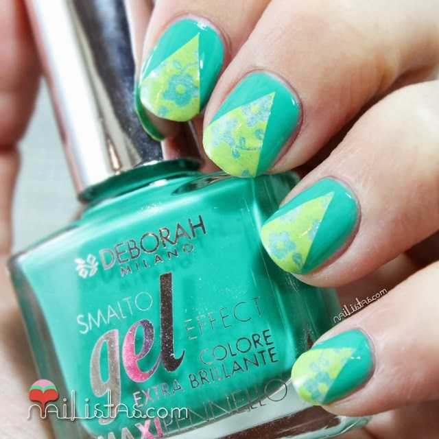Nail art Chevron con Washi tape o cinta decorativa