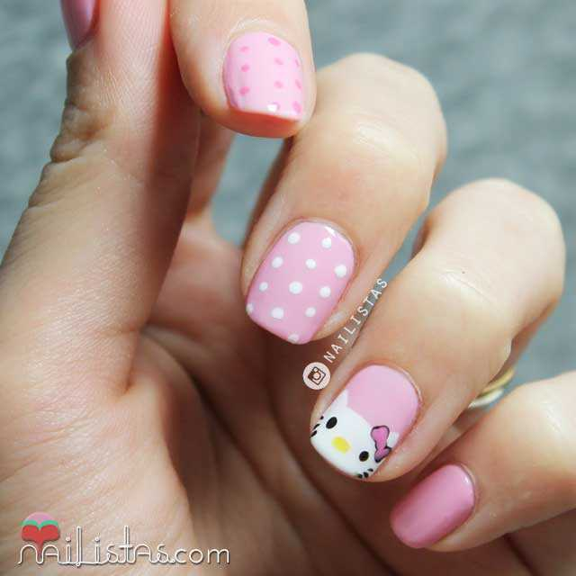 Uñas decoradas con Hello Kitty paso a paso