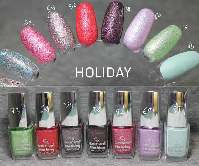 Esmaltes Golden Rose Holiday swatches