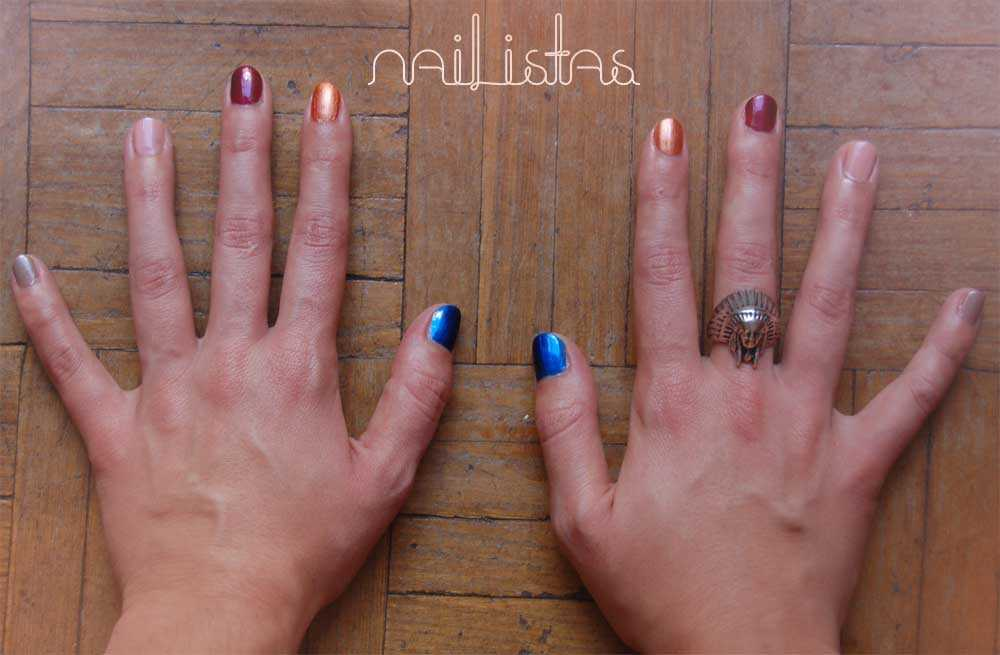 H&M polish bronze red blue pink beige http://www.nailistas.com