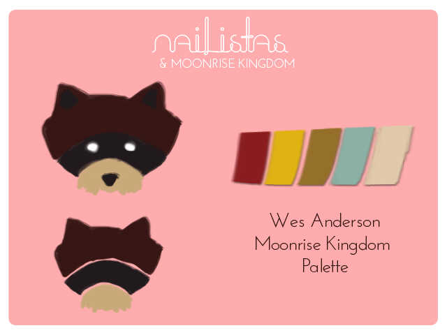 Wes Anderson moonrise kingdom palette, raccoon nail art http://www.nailistas.com