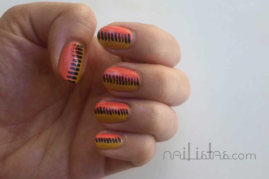 Uñas decoradas estilo ochentas 80's style nail art   http://www.nailistas.com/