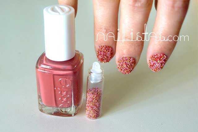 Uñas de Caviar Rosa // Fish egg nails Manicure