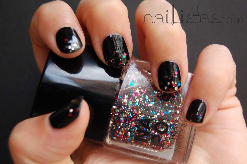 Rock Star ♥ Negro & Glitter /// Party nail art