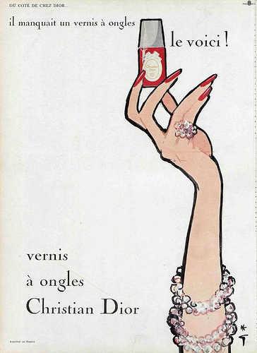 imagen publicitaria del esmate de uñas de Christian Dior en los años 60