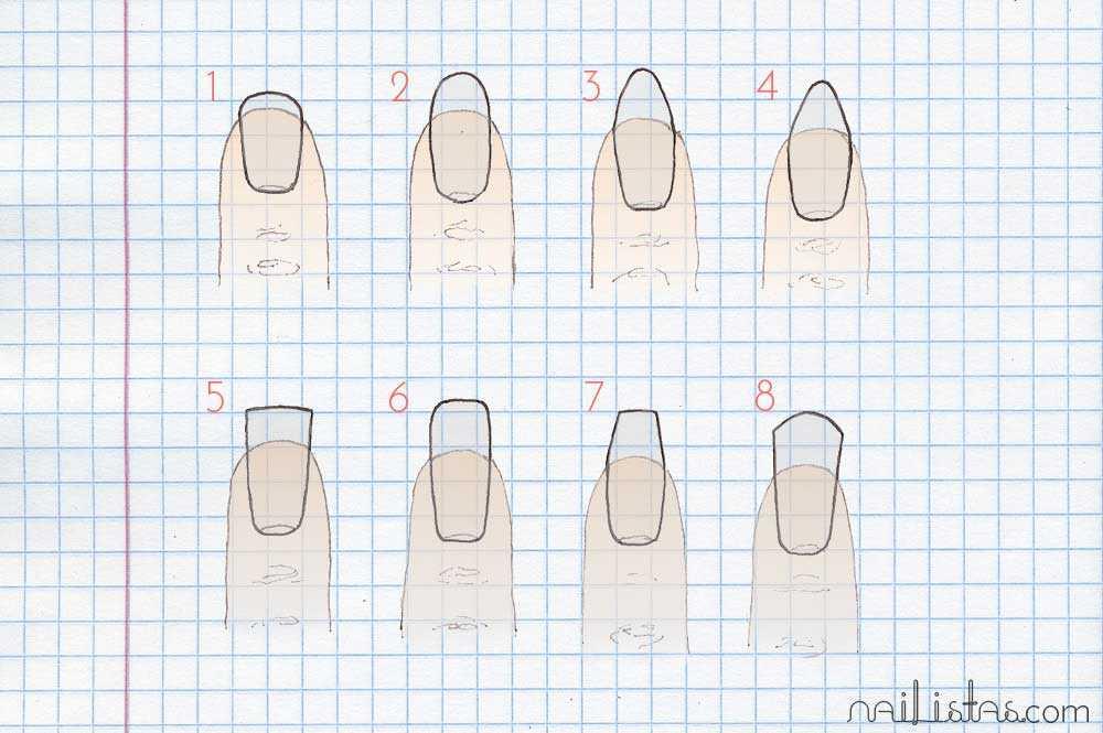 esquema de formas de limar las uñas