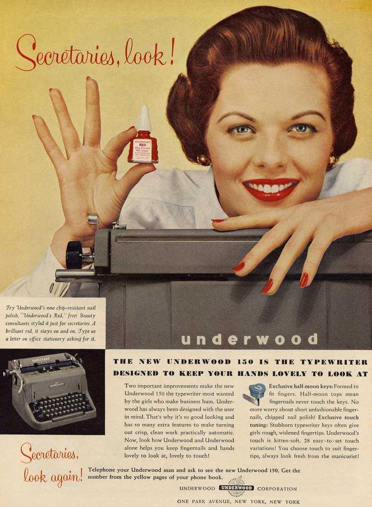 imagen publicitaria vintage de la marca de maquinas de escribir underwood