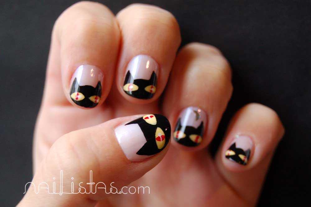 Uñas decoradas con gatos negros // Halloween nails //