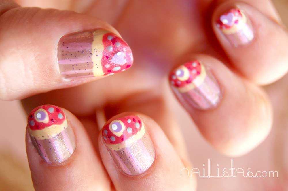uñas decoradas con cupcakes // cupcake nail art