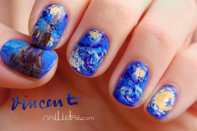 Uñas decoradas con La noche estrellada de Vincent Van Gogh ...