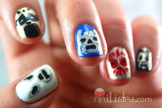 Nail Art con máscaras de lucha libre mexicana // Blue Demon