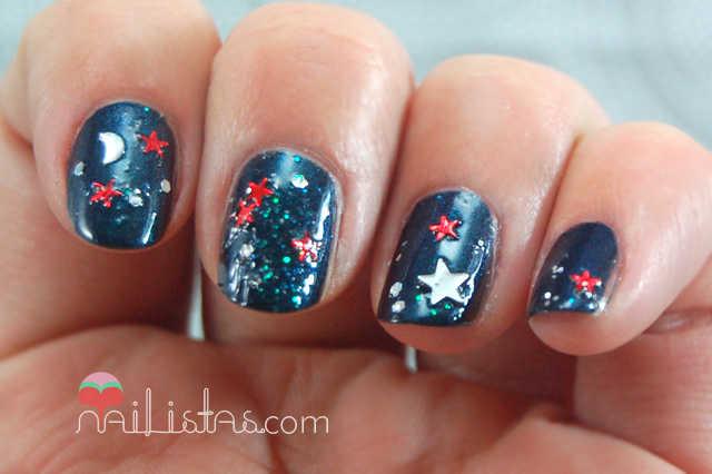 Uñas decoradas con la estrella de oriente // Navidad