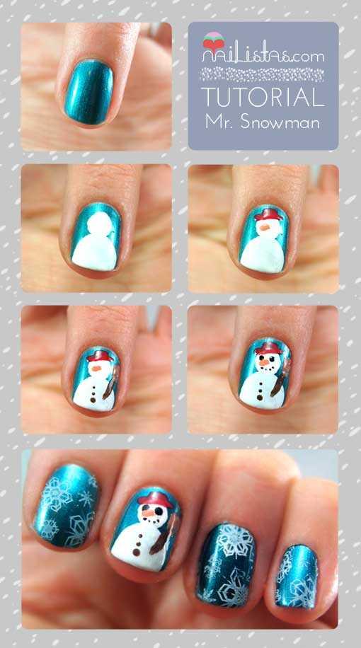 tutorial muñeco de nieve paso a paso en las uñas