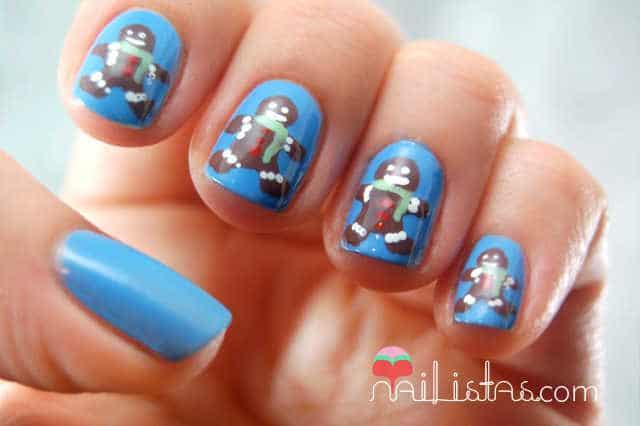 Imágenes de uñas decoradas con diseños navideños // Hombre de Jengibre