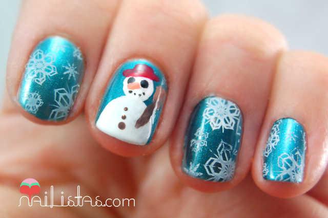 Uñas decoradas con muñeco de nieve // Manicura navideña