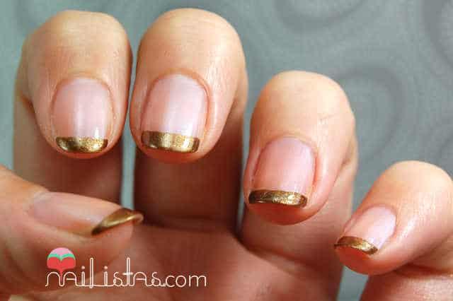 Manicura francesa de color dorado nailistas productos - Manicura francesa colores ...