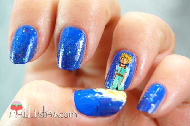 Uñas decoradas con El Principito // Azul