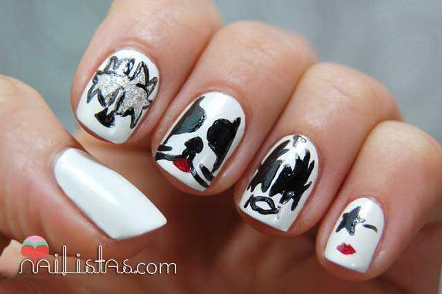 uñas decoradas con agrupación de Kiss