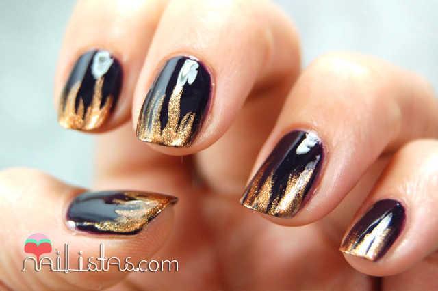 Nail art de llamas // Egyptian Goddess y Gothica de LOLA Make Up
