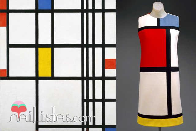 Cuadro de Mondrian y una de sus retículas llevadas a la moda