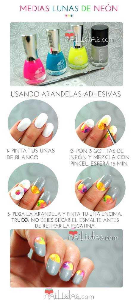 decoración de uñas fácil paso a paso // Medias Lunas de Neón