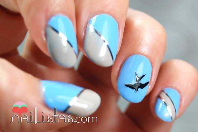 Uñas decoradas con golondrinas // Adora-bleu de Bourjois