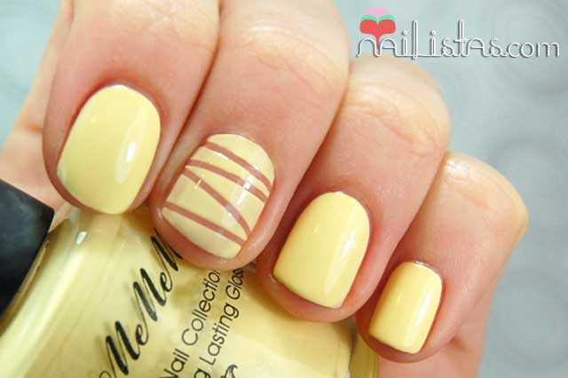 uñas decoradas reservando con cinta para nail art
