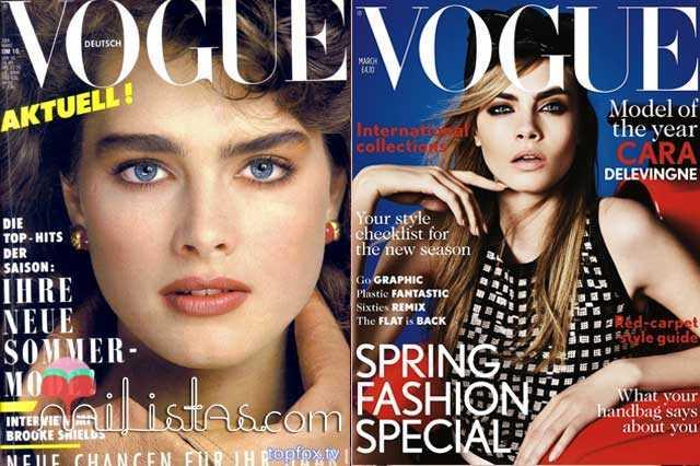 Brooke Shields & Cara Delevingne Vogue Covers