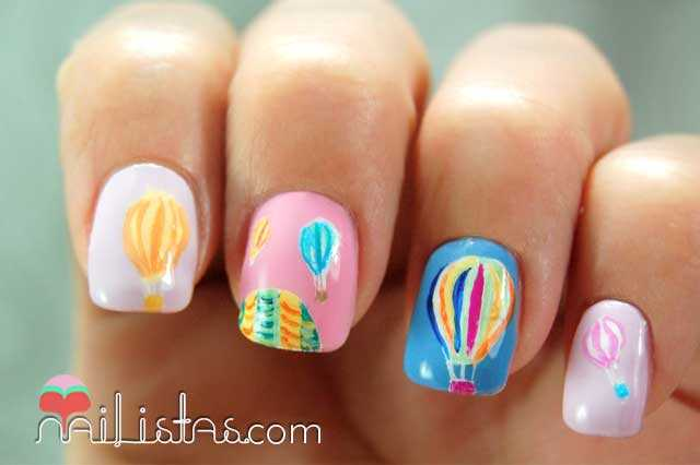 Uñas decoradas con globos aerostáticos / Aerostatic Balloons