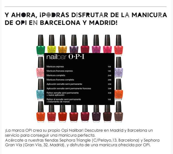 Nail Bar de OPI para Sephora Madrid y Barcelona