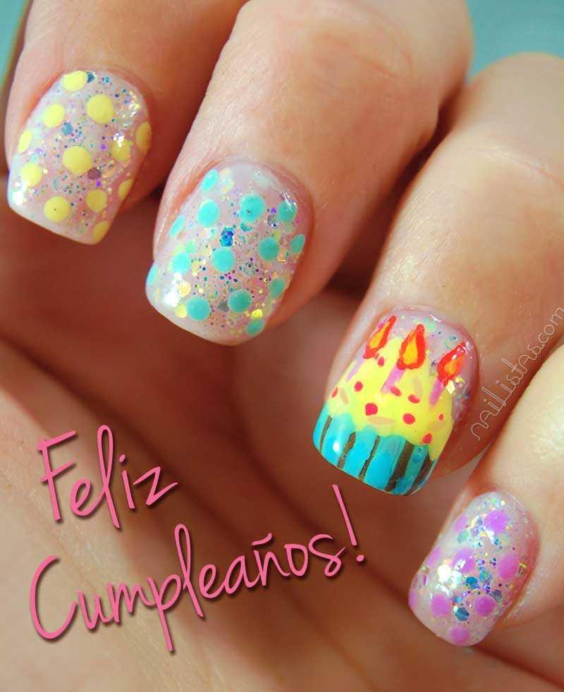 Postal de felicitación de cumpleaños con nail art // Birthday Postcard