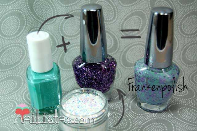 Franken Polish violeta y verde DIY