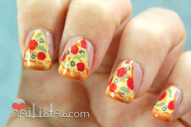 Uñas decoradas con pizzas // Nail Art con acrílicos