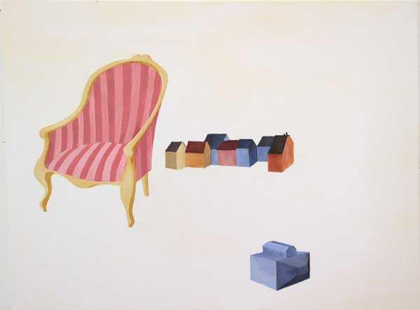 Pintura acrílica con silla y casas de Lara Pintos