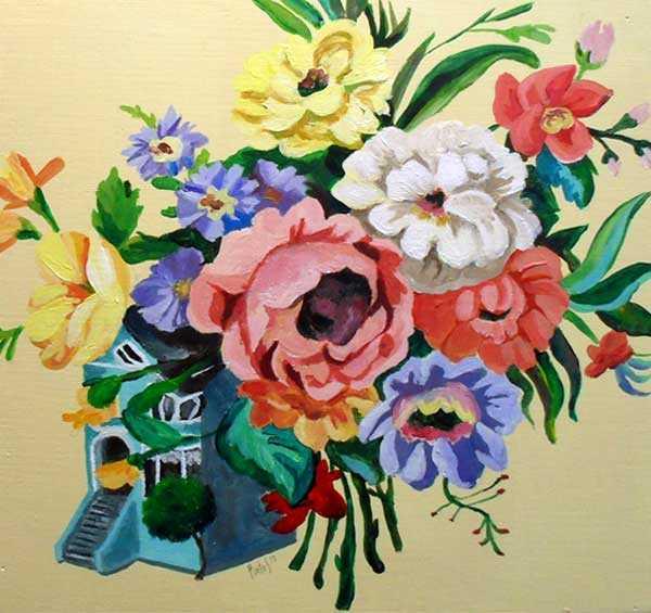 Flores pintadas en acrílico, arte contemporáneo por Lara Pintos