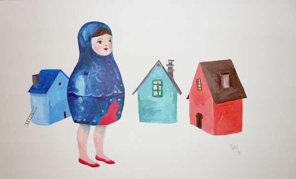 Matrioska y casas por la pintora Lara Pintos