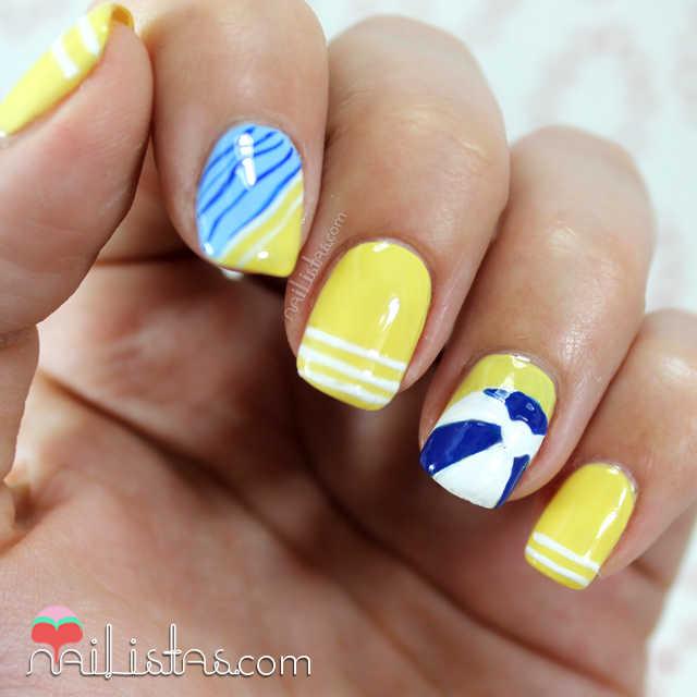 Nail Art con pelota de playa Nivea
