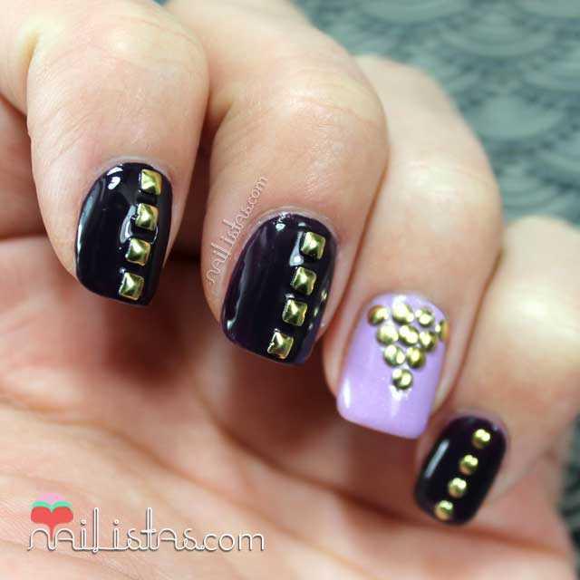 Uñas decoradas con tachuelas | Rueda de tachuelas para nail art