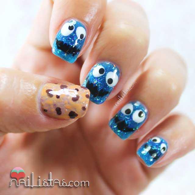 Uñas decoradas con el monstruo de las galletas | Tricky