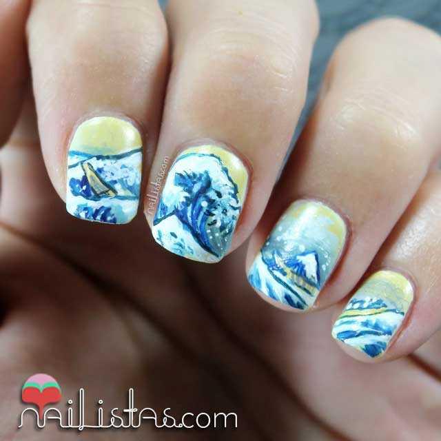 Nail art inspirado en la ola de hokusai