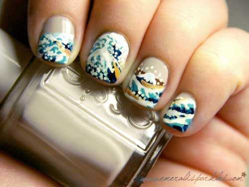 Hokusai wave nail art