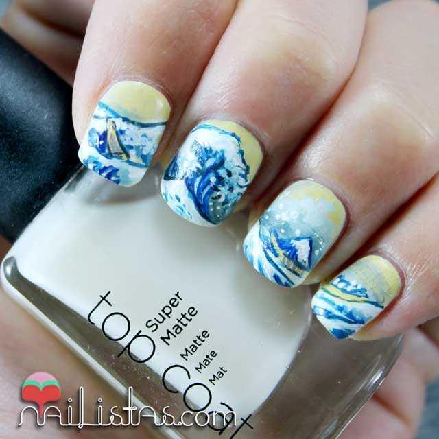Uñas decoradas de la ola de Hokusai | arte japonés